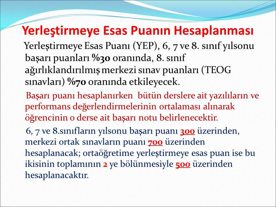 Yerleştirmeye Esas Puanın Hesaplanması Yerleştirmeye Esas Puanı (YEP), 6, 7 ve 8.