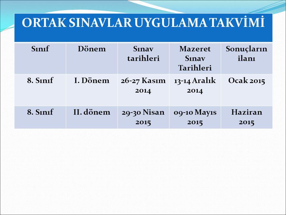 ORTAK SINAVLAR UYGULAMA TAKVİMİ SınıfDönemSınav tarihleri Mazeret Sınav Tarihleri Sonuçların ilanı 8.
