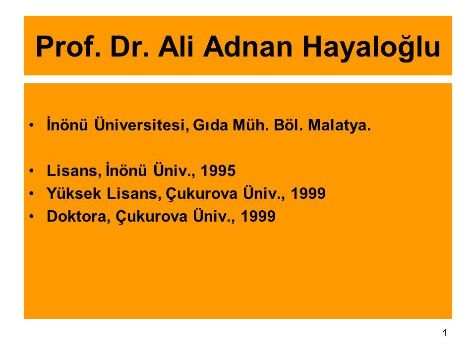 1 Prof. Dr. Ali Adnan Hayaloğlu İnönü Üniversitesi, Gıda Müh. Böl. Malatya. Lisans, İnönü Üniv., 1995 Yüksek Lisans, Çukurova Üniv., 1999 Doktora, Çuk