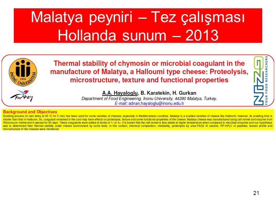 21 Malatya peyniri – Tez çalışması Hollanda sunum – 2013