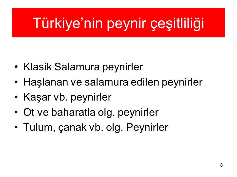 8 Türkiye'nin peynir çeşitliliği Klasik Salamura peynirler Haşlanan ve salamura edilen peynirler Kaşar vb. peynirler Ot ve baharatla olg. peynirler Tu
