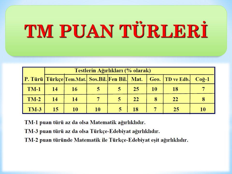 TM PUAN TÜRLERİ