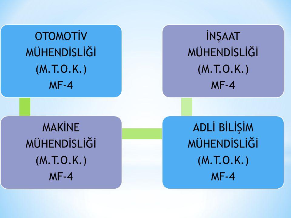 OTOMOTİV MÜHENDİSLİĞİ (M.T.O.K.) MF-4 MAKİNE MÜHENDİSLİĞİ (M.T.O.K.) MF-4 ADLİ BİLİŞİM MÜHENDİSLİĞİ (M.T.O.K.) MF-4 İNŞAAT MÜHENDİSLİĞİ (M.T.O.K.) MF-4
