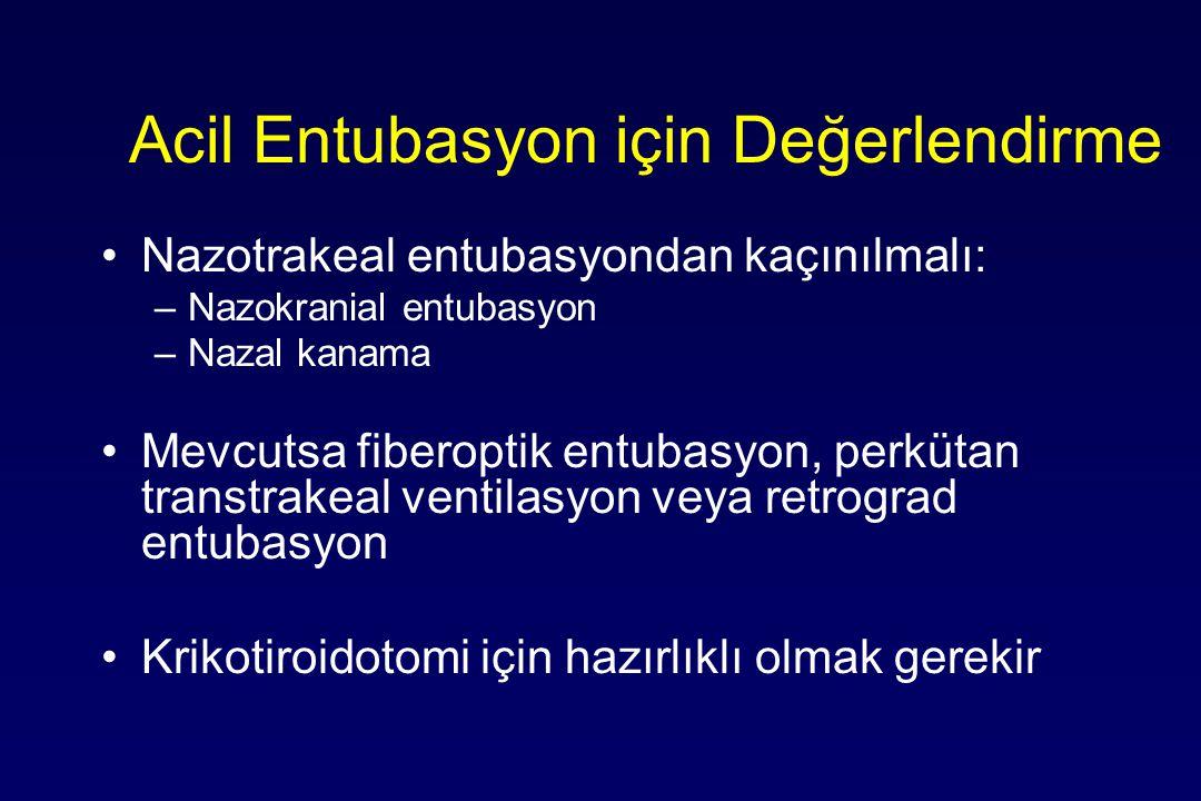 Acil Entubasyon için Değerlendirme Nazotrakeal entubasyondan kaçınılmalı: –Nazokranial entubasyon –Nazal kanama Mevcutsa fiberoptik entubasyon, perküt