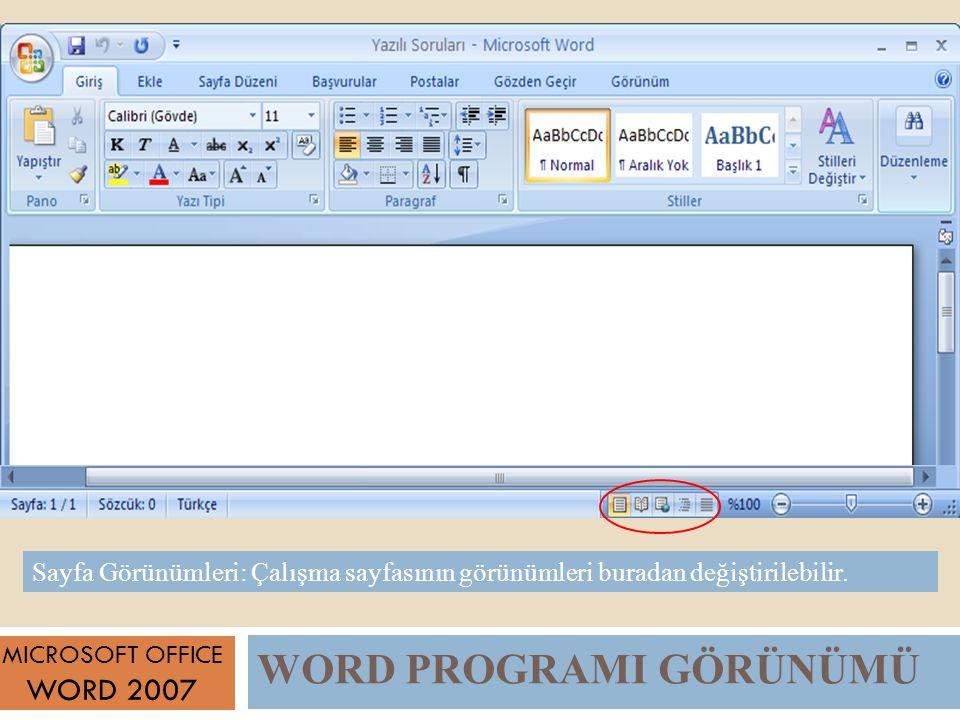 WORD PROGRAMI GÖRÜNÜMÜ MICROSOFT OFFICE WORD 2007 Sayfa Görünümleri: Çalışma sayfasının görünümleri buradan değiştirilebilir.