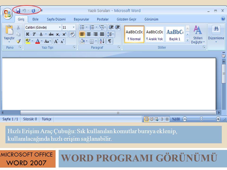 WORD PROGRAMI GÖRÜNÜMÜ MICROSOFT OFFICE WORD 2007 Hızlı Erişim Araç Çubuğu: Sık kullanılan komutlar buraya eklenip, kullanılacağında hızlı erişim sağlanabilir.