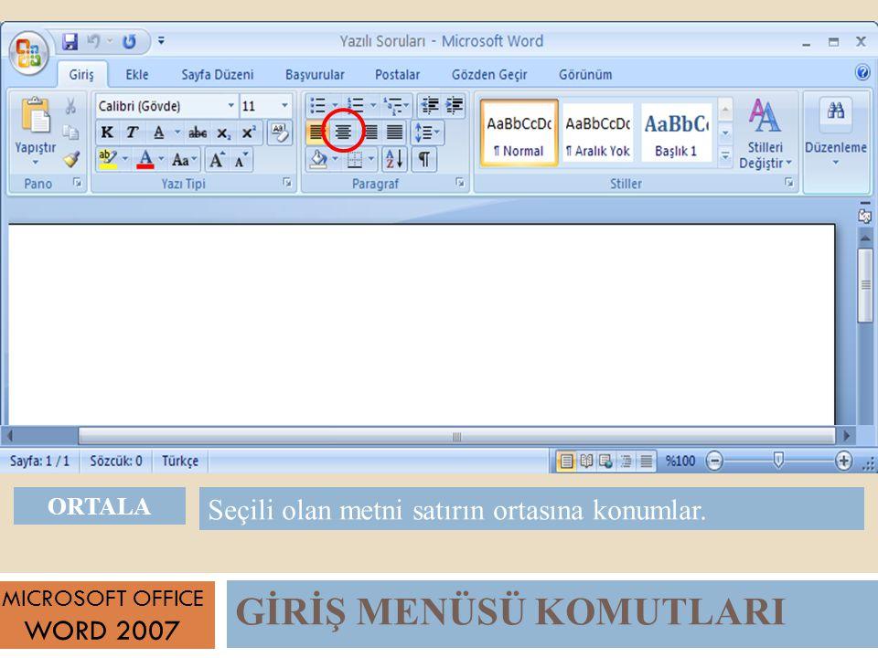 GİRİŞ MENÜSÜ KOMUTLARI MICROSOFT OFFICE WORD 2007 Seçili olan metni satırın ortasına konumlar.
