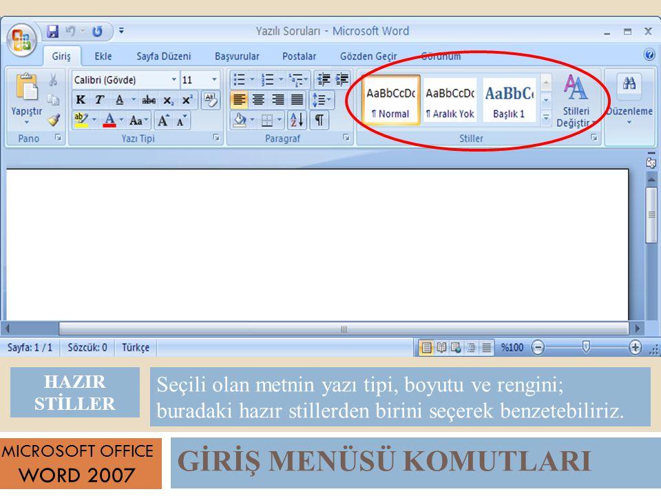 GİRİŞ MENÜSÜ KOMUTLARI MICROSOFT OFFICE WORD 2007 Seçili olan metnin yazı tipi, boyutu ve rengini; buradaki hazır stillerden birini seçerek benzetebiliriz.