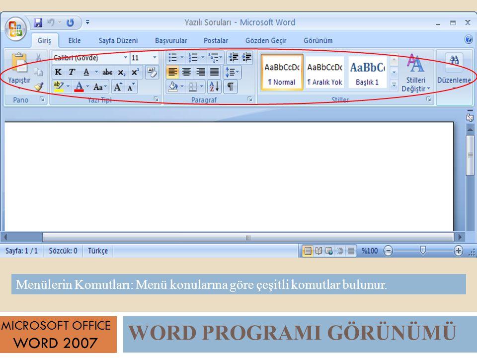 WORD PROGRAMI GÖRÜNÜMÜ MICROSOFT OFFICE WORD 2007 Menülerin Komutları: Menü konularına göre çeşitli komutlar bulunur.
