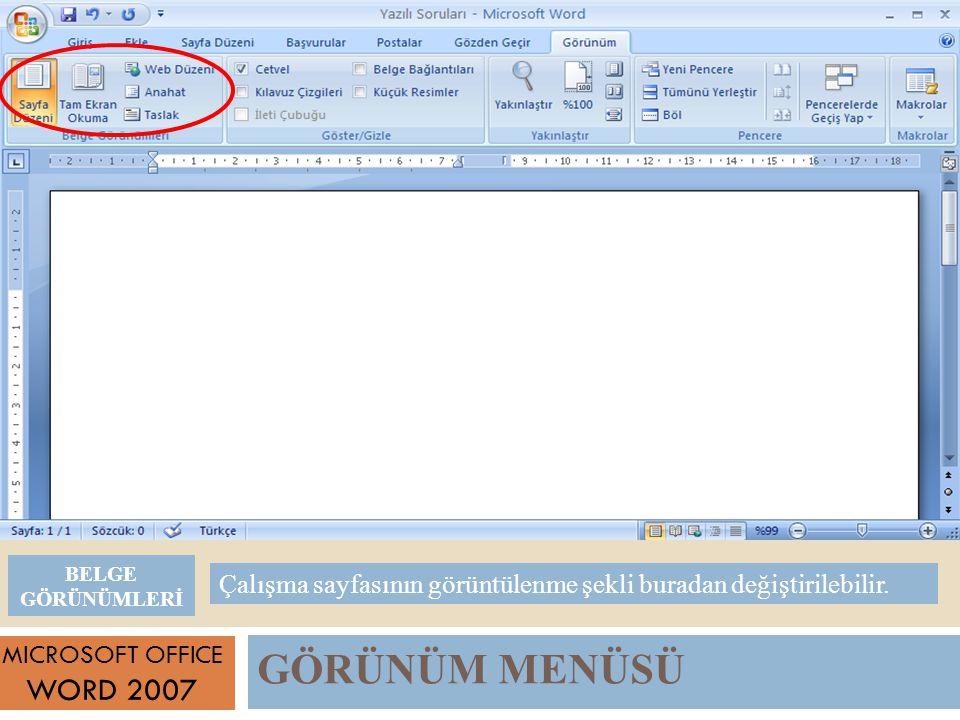 GÖRÜNÜM MENÜSÜ MICROSOFT OFFICE WORD 2007 Çalışma sayfasının görüntülenme şekli buradan değiştirilebilir.