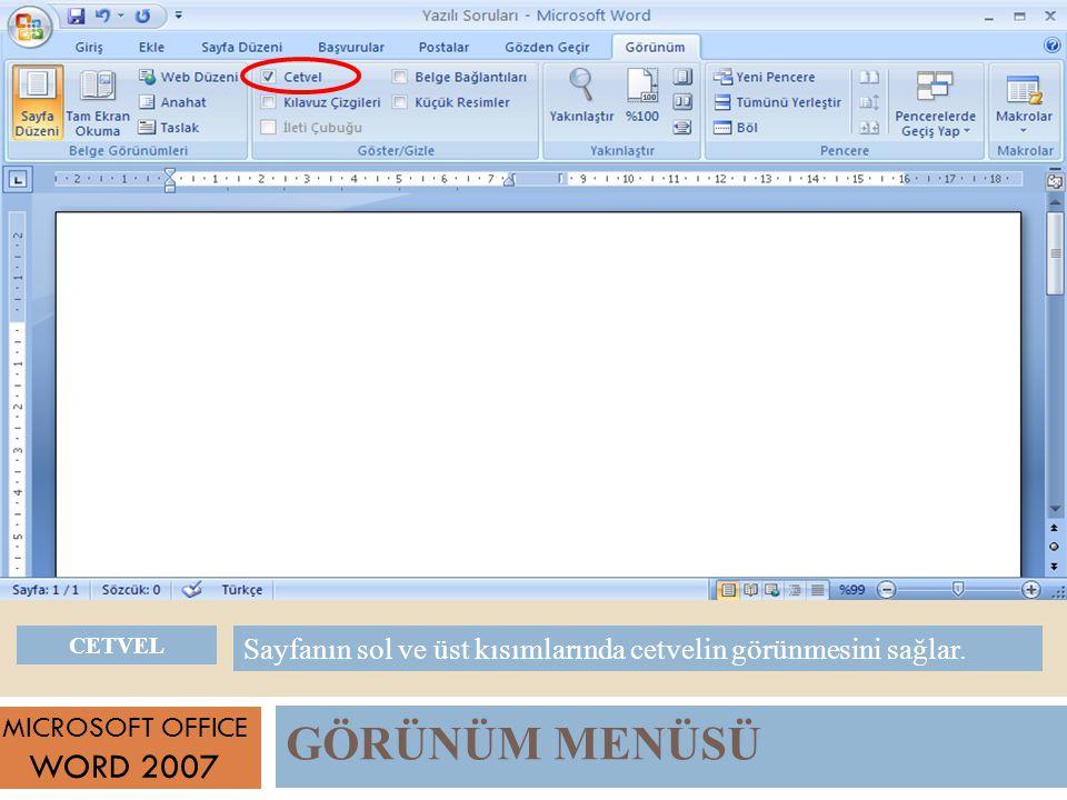 GÖRÜNÜM MENÜSÜ MICROSOFT OFFICE WORD 2007 Sayfanın sol ve üst kısımlarında cetvelin görünmesini sağlar.