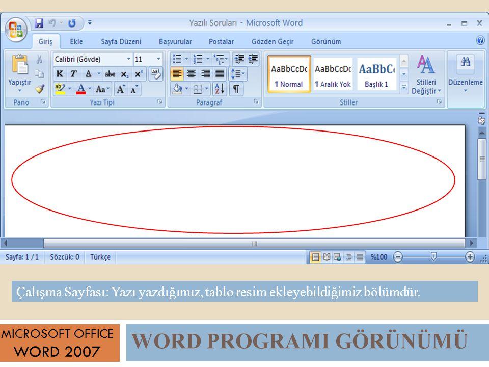 WORD PROGRAMI GÖRÜNÜMÜ MICROSOFT OFFICE WORD 2007 Çalışma Sayfası: Yazı yazdığımız, tablo resim ekleyebildiğimiz bölümdür.