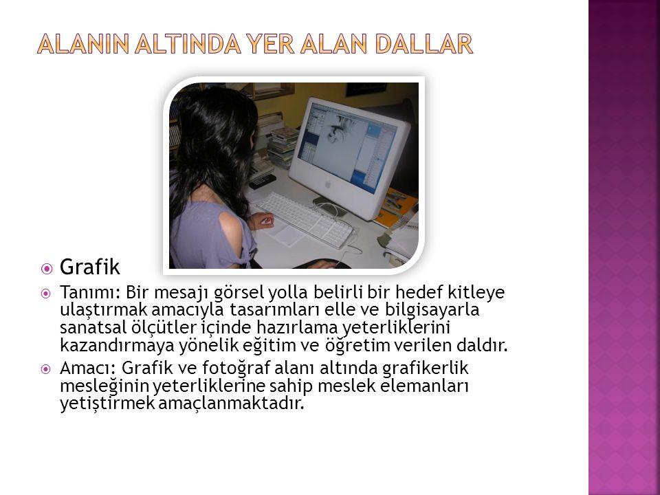  Grafik  Tanımı: Bir mesajı görsel yolla belirli bir hedef kitleye ulaştırmak amacıyla tasarımları elle ve bilgisayarla sanatsal ölçütler içinde haz