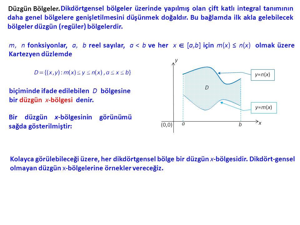 Düzgün Bölgeler. Dikdörtgensel bölgeler üzerinde yapılmış olan çift katlı integral tanımının daha genel bölgelere genişletilmesini düşünmek doğaldır.