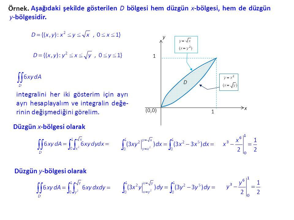 Örnek. Aşağıdaki şekilde gösterilen D bölgesi hem düzgün x-bölgesi, hem de düzgün y-bölgesidir. y x (0,0) 1 1 D integralini her iki gösterim için ayrı