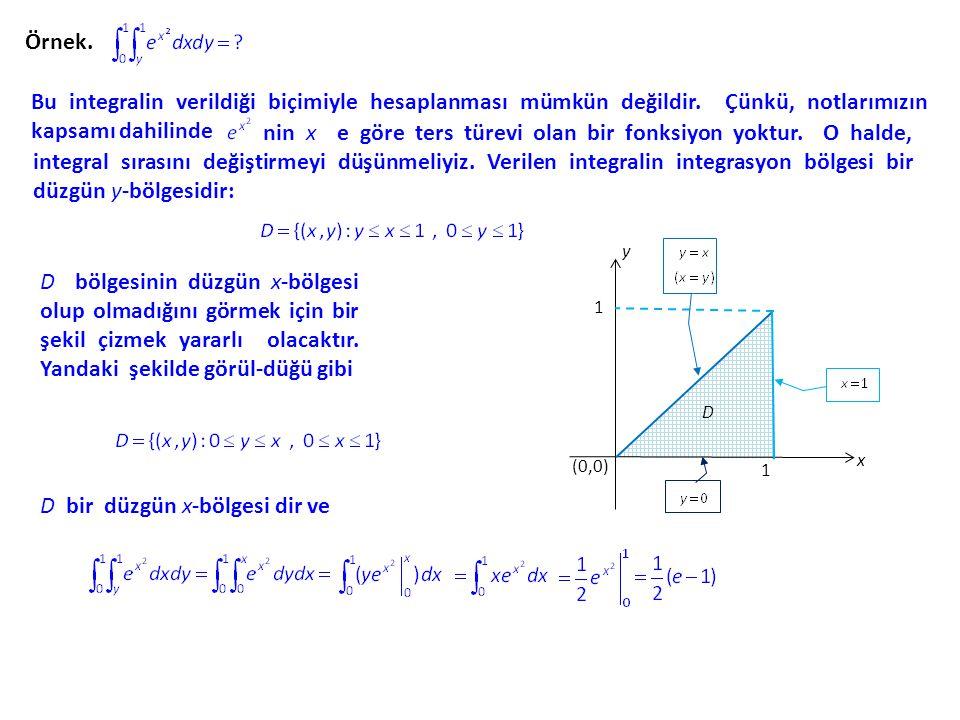 Örnek. Bu integralin verildiği biçimiyle hesaplanması mümkün değildir. Çünkü, notlarımızın kapsamı dahilinde nin x e göre ters türevi olan bir fonksiy