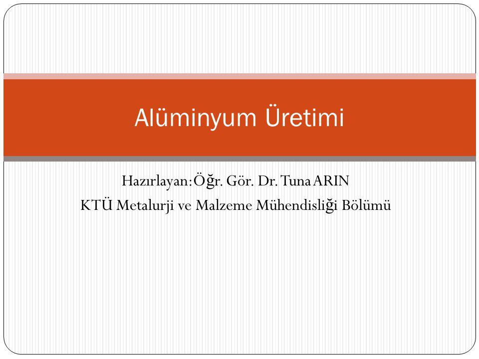 Hazırlayan:Ö ğ r. Gör. Dr. Tuna ARIN KTÜ Metalurji ve Malzeme Mühendisli ğ i Bölümü Alüminyum Üretimi
