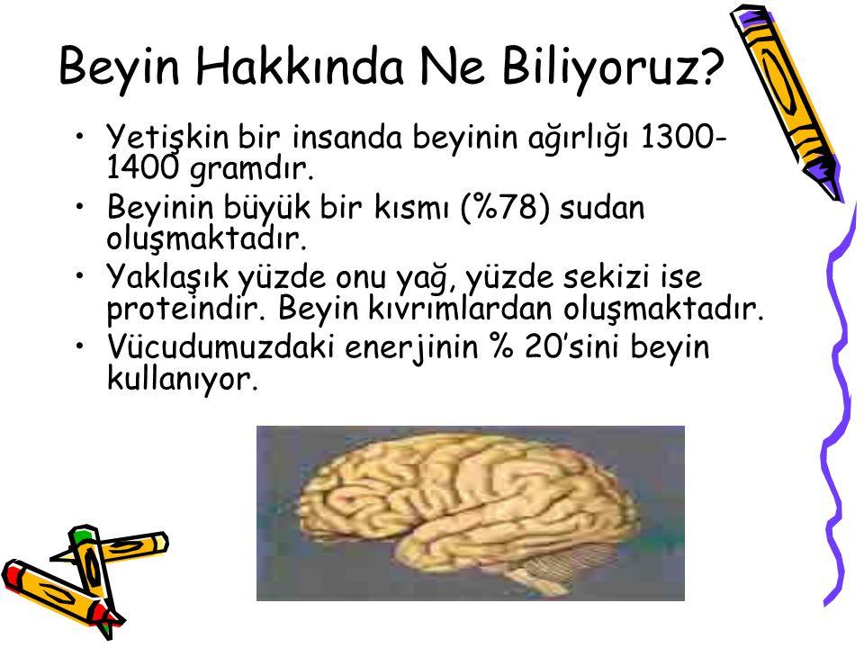 Beyin Hakkında Ne Biliyoruz? Yetişkin bir insanda beyinin ağırlığı 1300- 1400 gramdır. Beyinin büyük bir kısmı (%78) sudan oluşmaktadır. Yaklaşık yüzd