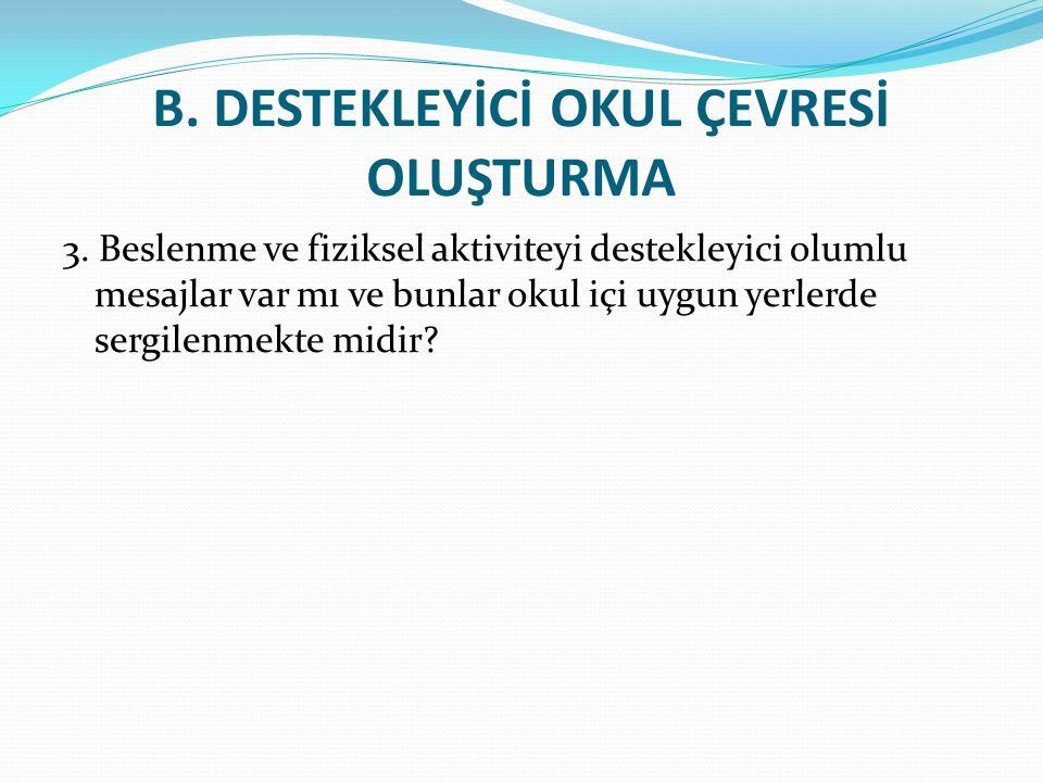 B.DESTEKLEYİCİ OKUL ÇEVRESİ OLUŞTURMA 3.