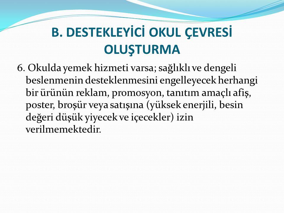 B.DESTEKLEYİCİ OKUL ÇEVRESİ OLUŞTURMA 6.