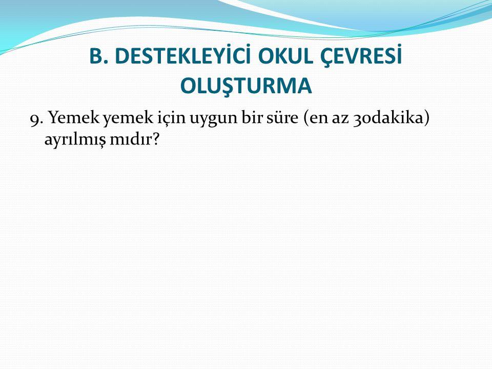 B.DESTEKLEYİCİ OKUL ÇEVRESİ OLUŞTURMA 9.