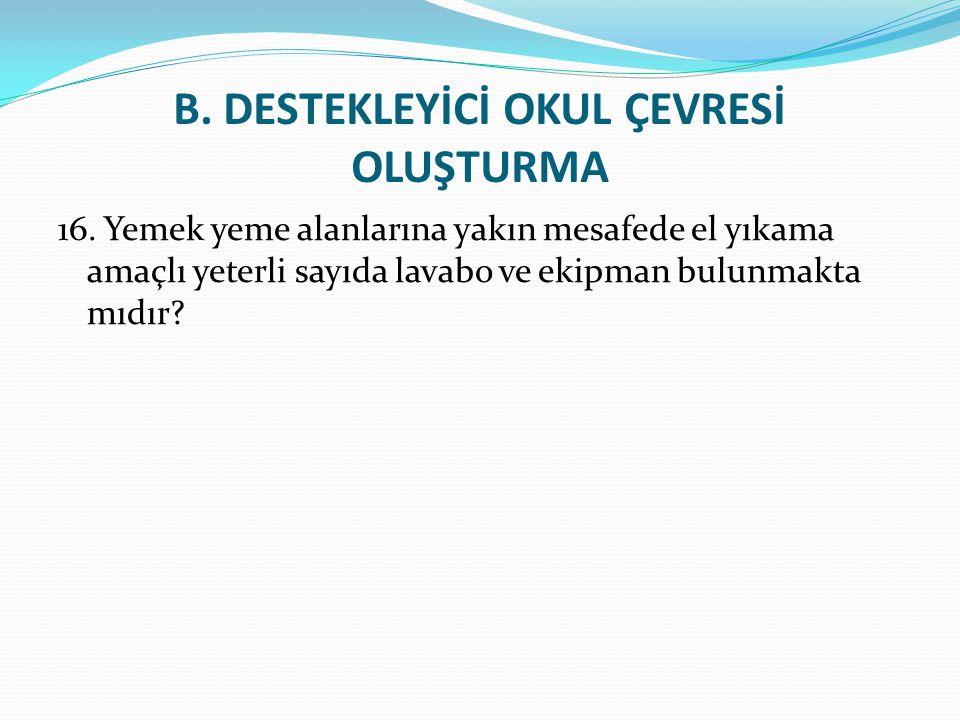 B.DESTEKLEYİCİ OKUL ÇEVRESİ OLUŞTURMA 16.