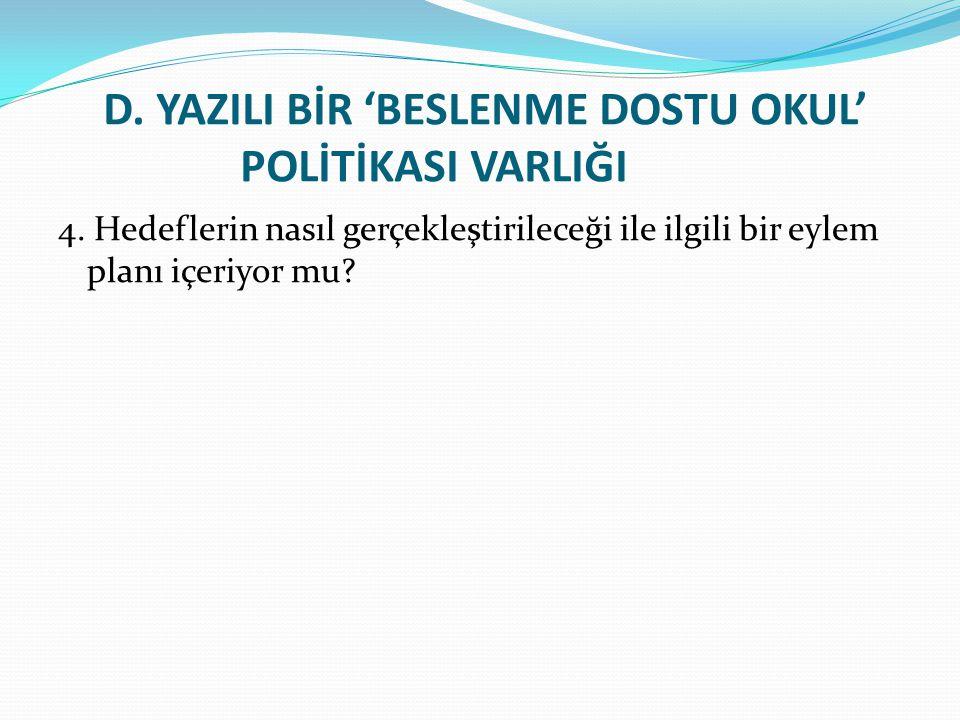 D.YAZILI BİR 'BESLENME DOSTU OKUL' POLİTİKASI VARLIĞI 4.