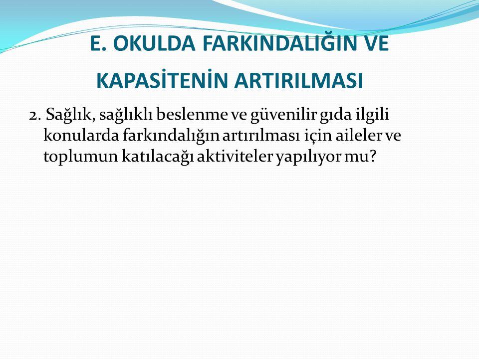 E.OKULDA FARKINDALIĞIN VE KAPASİTENİN ARTIRILMASI 2.