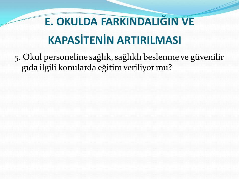 E.OKULDA FARKINDALIĞIN VE KAPASİTENİN ARTIRILMASI 5.