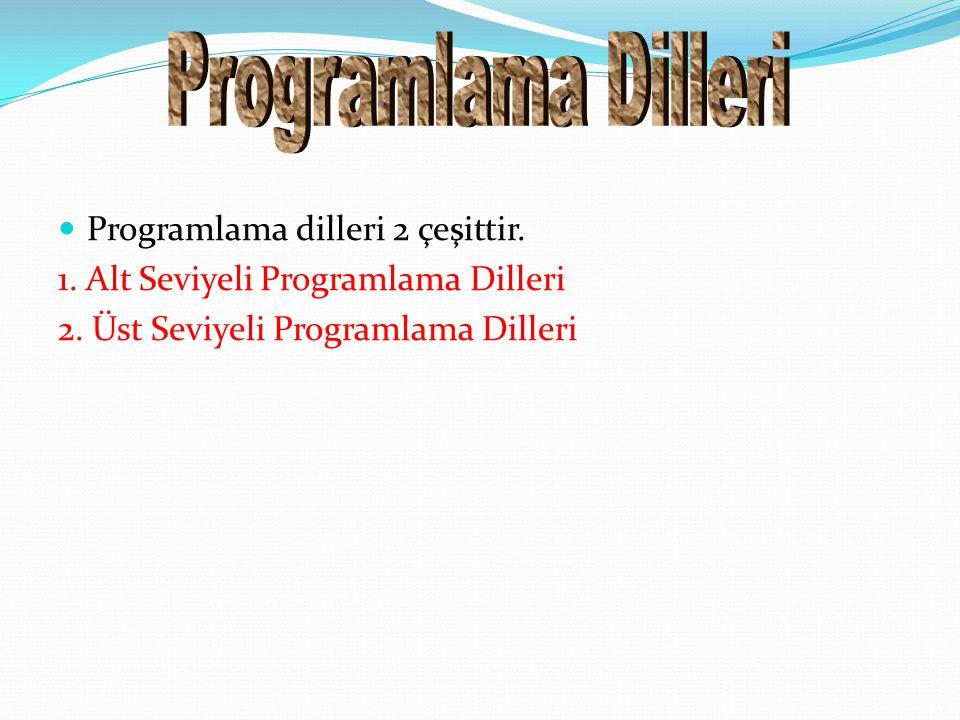 Programlama dilleri 2 çeşittir. 1. Alt Seviyeli Programlama Dilleri 2. Üst Seviyeli Programlama Dilleri