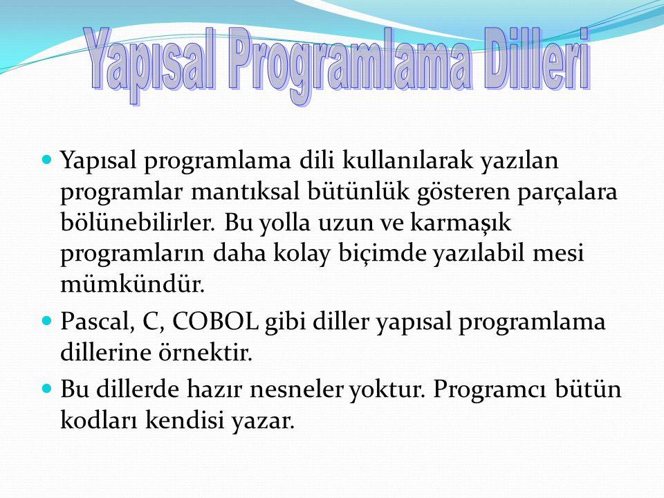 Yapısal programlama dili kullanılarak yazılan programlar mantıksal bütünlük gösteren parçalara bölünebilirler. Bu yolla uzun ve karmaşık programların