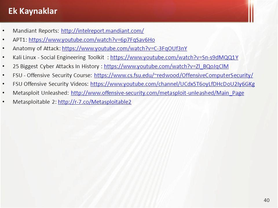 Mandiant Reports: http://intelreport.mandiant.com/http://intelreport.mandiant.com/ APT1: https://www.youtube.com/watch?v=6p7FqSav6Hohttps://www.youtub