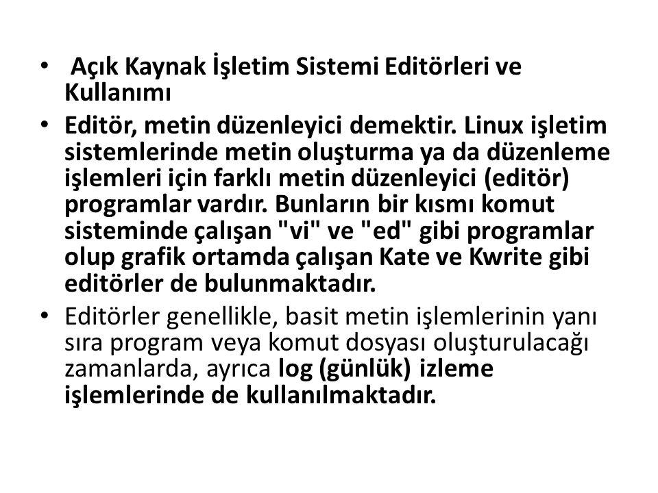 Açık Kaynak İşletim Sistemi Editörleri ve Kullanımı Editör, metin düzenleyici demektir. Linux işletim sistemlerinde metin oluşturma ya da düzenleme iş
