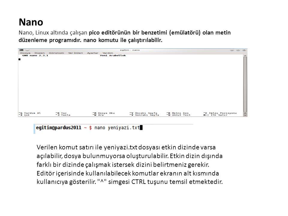 Nano Nano, Linux altında çalışan pico editörünün bir benzetimi (emülatörü) olan metin düzenleme programıdır. nano komutu ile çalıştırılabilir. Verilen