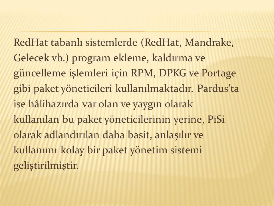 RedHat tabanlı sistemlerde (RedHat, Mandrake, Gelecek vb.) program ekleme, kaldırma ve güncelleme işlemleri için RPM, DPKG ve Portage gibi paket yönet
