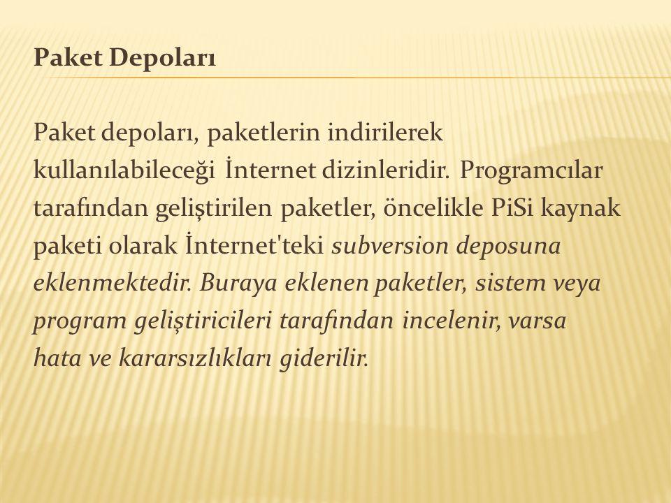 Paket Depoları Paket depoları, paketlerin indirilerek kullanılabileceği İnternet dizinleridir. Programcılar tarafından geliştirilen paketler, öncelikl