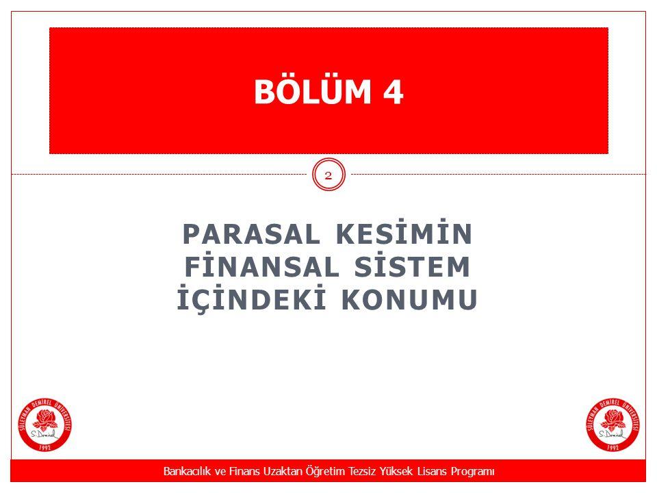 PARASAL KESİMİN FİNANSAL SİSTEM İÇİNDEKİ KONUMU Bankacılık ve Finans Uzaktan Öğretim Tezsiz Yüksek Lisans Programı 2 BÖLÜM 4