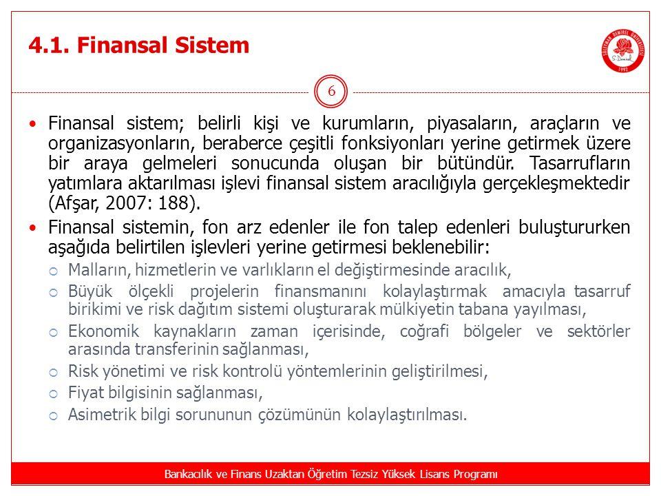 4.1. Finansal Sistem Bankacılık ve Finans Uzaktan Öğretim Tezsiz Yüksek Lisans Programı 6 Finansal sistem; belirli kişi ve kurumların, piyasaların, ar