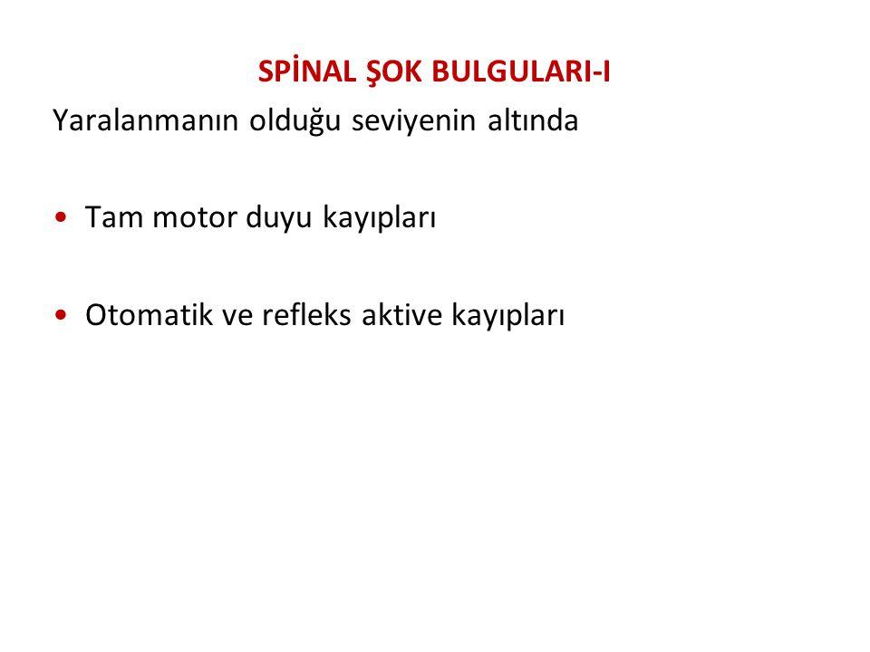 SPİNAL ŞOK BULGULARI-I Yaralanmanın olduğu seviyenin altında Tam motor duyu kayıpları Otomatik ve refleks aktive kayıpları