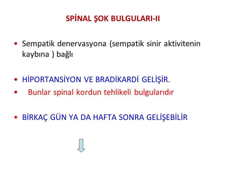 SPİNAL ŞOK BULGULARI-II Sempatik denervasyona (sempatik sinir aktivitenin kaybına ) bağlı HİPORTANSİYON VE BRADİKARDİ GELİŞİR. Bunlar spinal kordun te