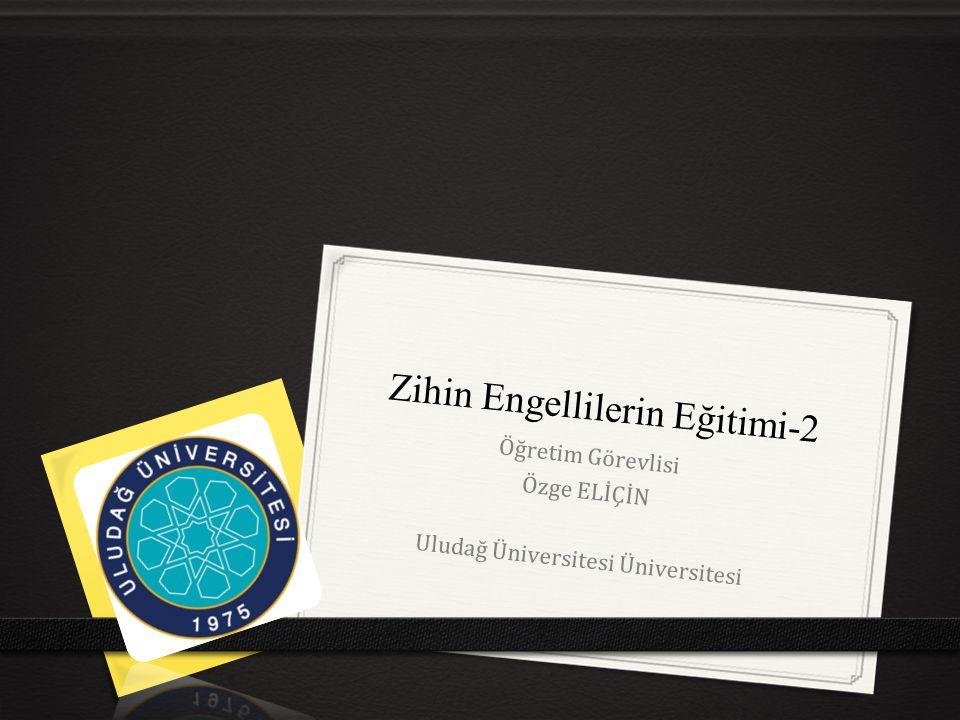 Zihin Engellilerin Eğitimi-2 Öğretim Görevlisi Özge ELİÇİN Uludağ Üniversitesi Üniversitesi