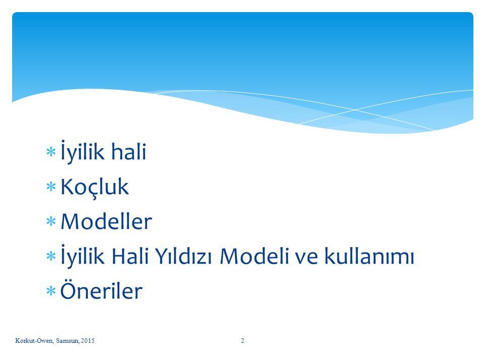  İyilik hali  Koçluk  Modeller  İyilik Hali Yıldızı Modeli ve kullanımı  Öneriler Korkut-Owen, Samsun, 20152