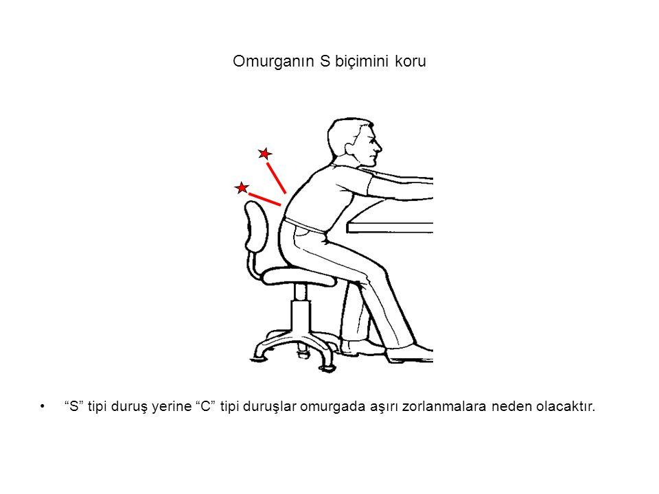 """Omurganın S biçimini koru """"S"""" tipi duruş yerine """"C"""" tipi duruşlar omurgada aşırı zorlanmalara neden olacaktır."""