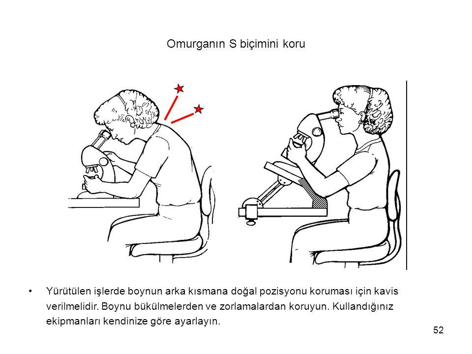 52 Omurganın S biçimini koru Yürütülen işlerde boynun arka kısmana doğal pozisyonu koruması için kavis verilmelidir. Boynu bükülmelerden ve zorlamalar