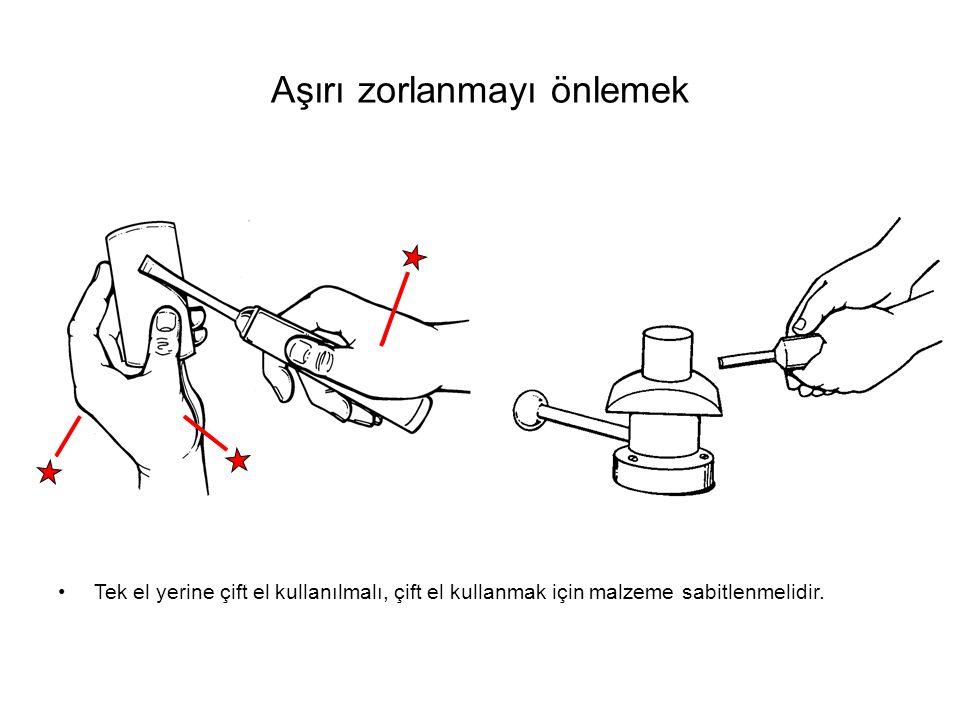 Aşırı zorlanmayı önlemek Tek el yerine çift el kullanılmalı, çift el kullanmak için malzeme sabitlenmelidir.
