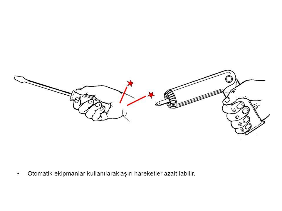 Otomatik ekipmanlar kullanılarak aşırı hareketler azaltılabilir.