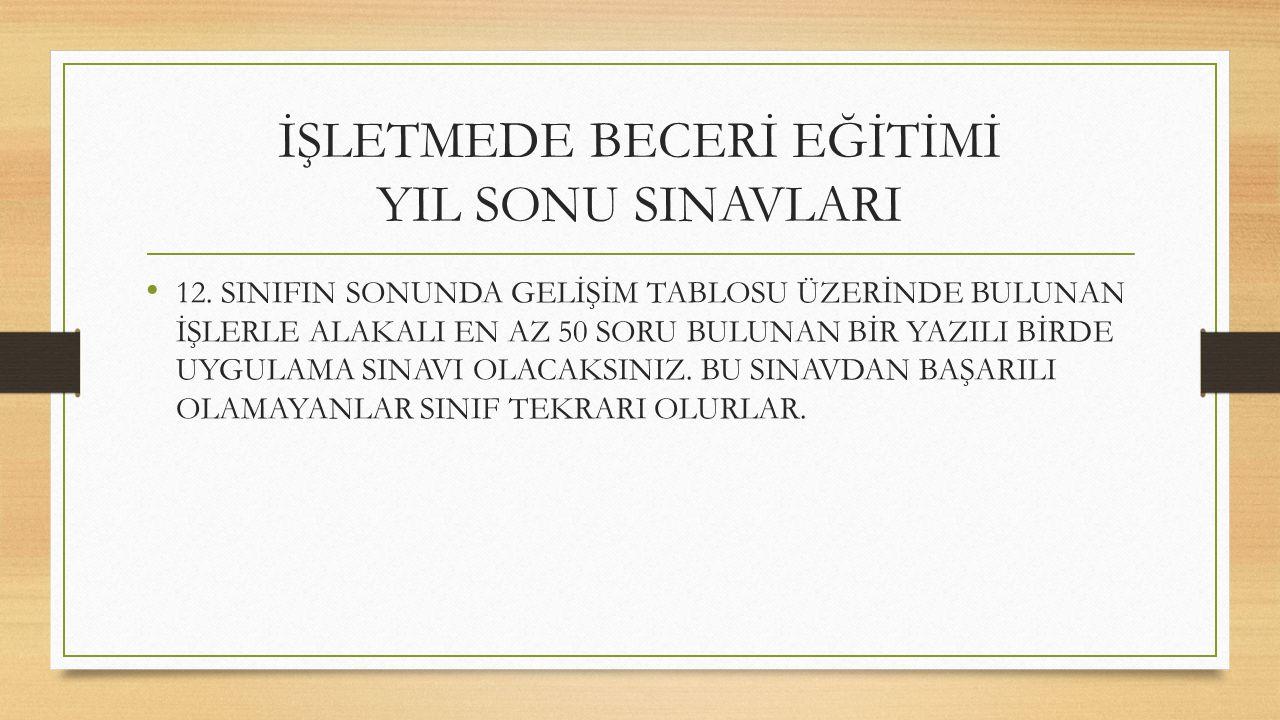 İŞLETMEDE BECERİ EĞİTİMİ YIL SONU SINAVLARI 12.