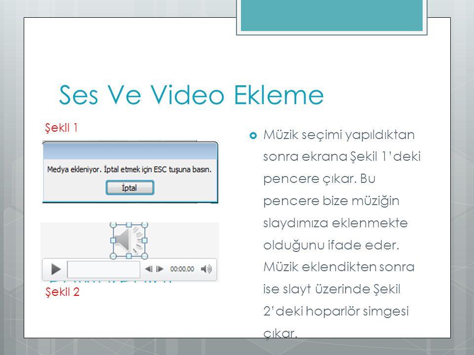 Ses Ve Video Ekleme  Müzik seçimi yapıldıktan sonra ekrana Şekil 1'deki pencere çıkar. Bu pencere bize müziğin slaydımıza eklenmekte olduğunu ifade e