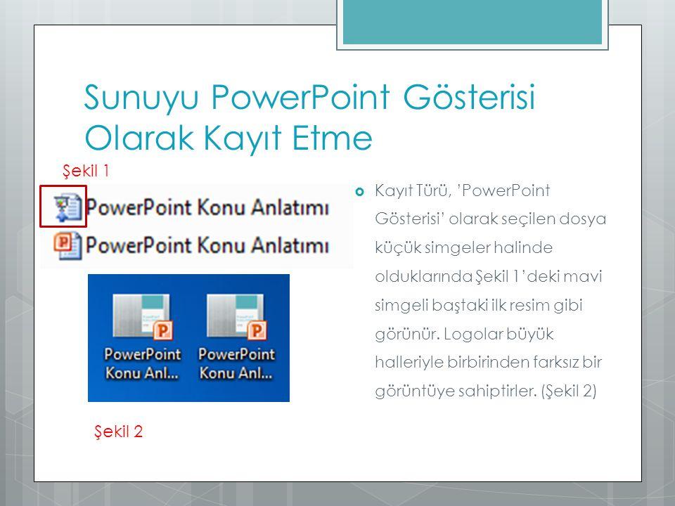 Sunuyu PowerPoint Gösterisi Olarak Kayıt Etme  Kayıt Türü, 'PowerPoint Gösterisi' olarak seçilen dosya küçük simgeler halinde olduklarında Şekil 1'de