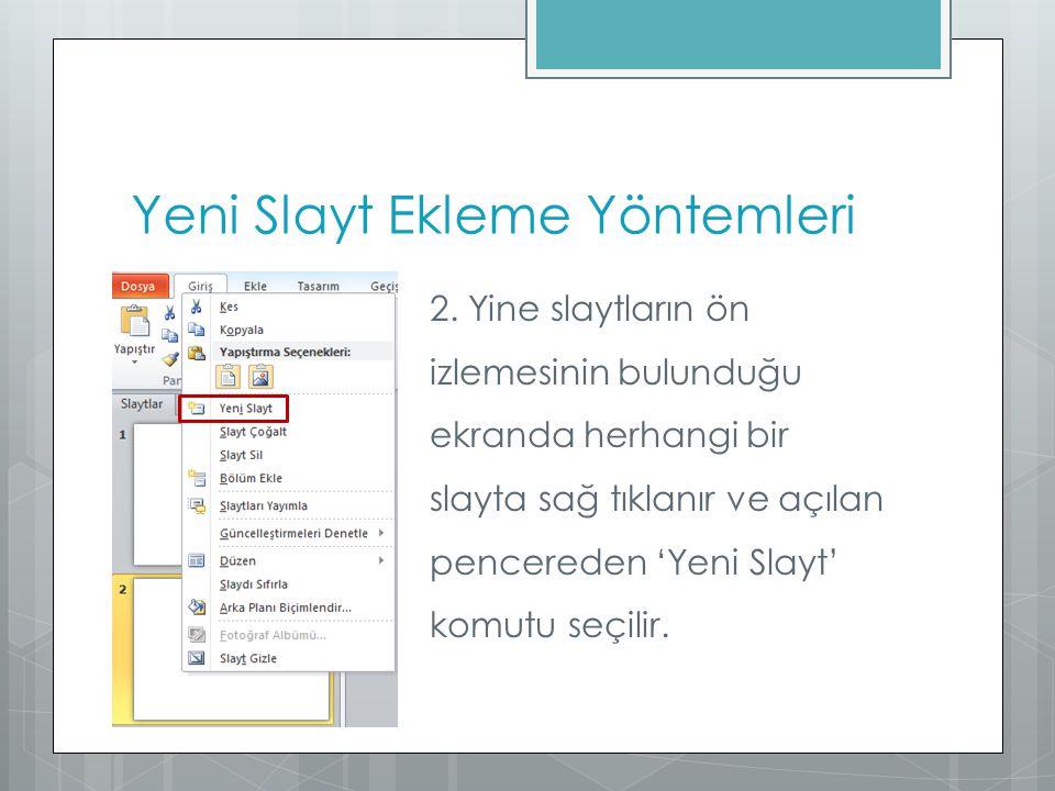 Yeni Slayt Ekleme Yöntemleri 2. Yine slaytların ön izlemesinin bulunduğu ekranda herhangi bir slayta sağ tıklanır ve açılan pencereden 'Yeni Slayt' ko